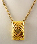 Vintage Goldtone Square Pendant Necklace