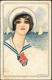Art Deco Nanni Girl in Sailor Girl 1917 Postcard
