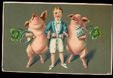 1907 Boy with Dancing Pigs New Years Postcard