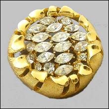 Monet Goldtone with Glass Round Brooch