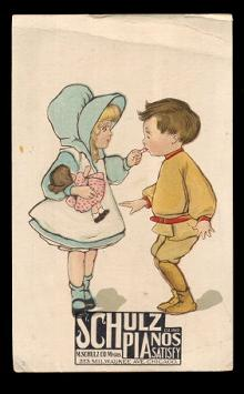 1880s Schulz Pianos Children Victorian Trade Card