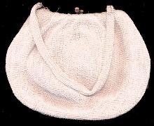 Vintage Heavy White Glass Beaded Handbag/Purse