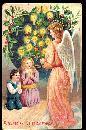 German Christmas Angel with Children 1908 Postcard