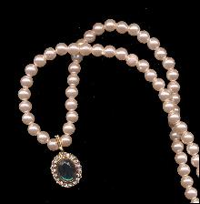 Faux Pearl with Rhinestone & Green Stone Necklace