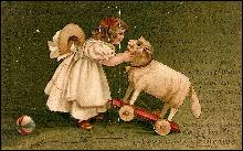 Girl with Lamb/Sheep Pull Toy 1907 Postcard