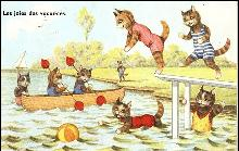 Dressed Cats Swimming French 1953 Postcard