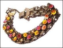 Early Enameled Floral/Flower Link Bracelet