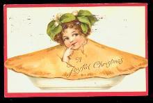 Frances Brundage Girl in Pie Christmas 1911 Postcard