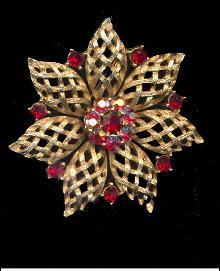 1950s Lisner Red Rhinestone Flower Brooch