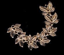 Vintage Gold Tone Wide Leaf Bracelet