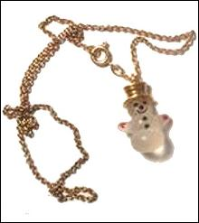 Avon Snowman Pendant on Necklace