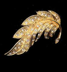 Vintage Napier Gold Tone with Rhinestones Leaf Brooch