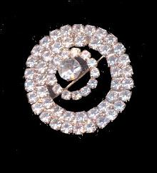 Vintage MONET Rhinestone Circle White 1 1/4