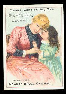 1880s Newman Bros Organ Trade Card