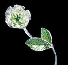 Vintage Silver Tone Avon Green Flower Pin