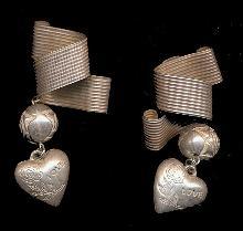 Modernist Style Silver Tone Heart Laura Vogel Earrings