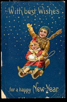 Happy New Year with Best Wishes 1908 Postcard