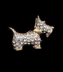 1940s Dog - Terrier Rhinestone Pin