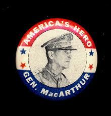 1940's WW II Gen. Douglas MacArthur America's Pin
