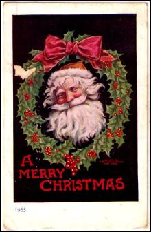 Merry Christmas Santa Claus in Wreath 1912 Postcard