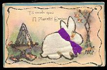 Felt Rabbit with Glitter Easter 1910 Postcard