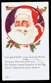 Santa Claus in Circle with Holly 1920s Postcard