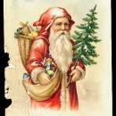 Santa Claus in Robe Holding Tree 1908 Postcard