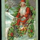 Santa Claus Riding Bicycle of Holly 1908 Postcard