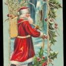 Santa Claus Santa Claus with Staff & Bag 1908 Postcard