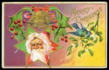Santa Claus Head in Star Christmas 1915 Postcard