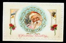 Santa Claus in Holly Window 1913 Postcard