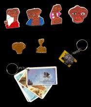 Large Lot of 1980s E.T. Pins & Key Chains