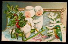 A Joy of Christmas Snow Babies Sledding 1911 Postcard