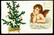 Merry Christmas Angel & Tree 1911 Postcard