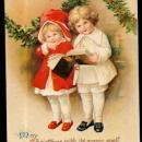 Ellen Clapsaddle Christmas Girl & Boy 1907 Postcard