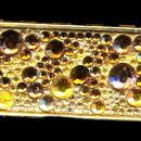 Vintage Glass Bead Top Goldtone Pill Box