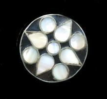 Vintage Mother of Pearl Top Silver Tone Pill Box