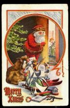 Santa Claus with Toys Peeking in at Child 1914 Postcard