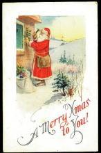 Santa Claus Nailing Holly 1912 Postcard