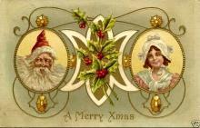 1911 Santa Claus & Girl Christmas Greetings Postcard