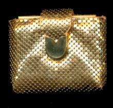 1950s Gold Tone Compact in Mesh Clutch