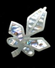 Mexico Sterling Silver & Mother of Pearl Leaf Pin