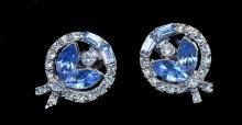 Pell Blue & White Glass Stone Earrings