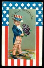 4th of July Greetings Boy in Patriotic Suit Postcard