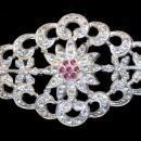 Vintage Diamond Shaped Rhinestone With Pink Brooch