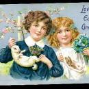 Easter Children with Rabbits Tucks 1908 Postcard