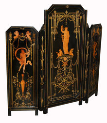 7392 19th C. Figural Inlaid Tri-Fold Ebonized Screen