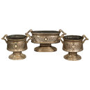 7399 3-piece Egyptian Revival nickel over bronze jardiniere set circa 1920