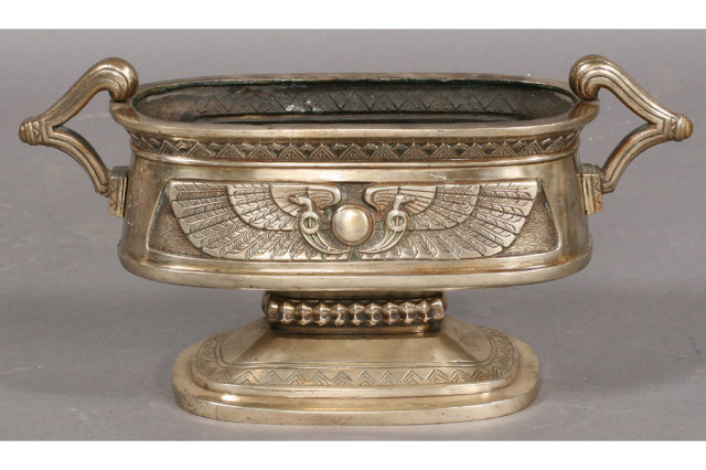 7399 3-piece Egyptian Revival nickel over bronze jardiniere set circa 1920