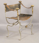 7402a Pair of French Campaign Style Chairs circa 1920